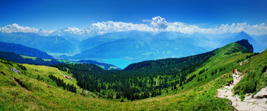 At Niederhorn Mountain. Shot from the Niederhorn mountain in Switzerland, looking south Stock Image
