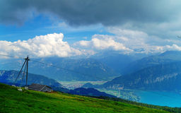 At Niederhorn Mountain. Shot from the Niederhorn mountain in Switzerland, looking south Royalty Free Stock Photography
