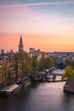 Niederländische Dämmerung in Amsterdam stockfotos