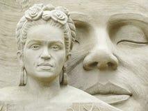 Niederländische Damenporträt-Sandskulptur Stockfoto