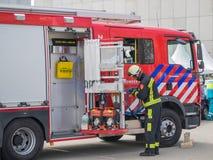Niederländische Feuerwehrmänner in der Aktion Lizenzfreies Stockfoto