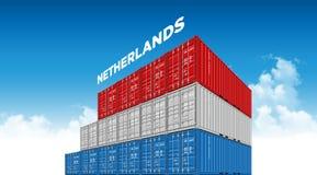 Niederländische Flagge des Seefracht-Behälters für Logistik und Transport mit Wolken stock abbildung
