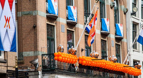 Niederländische Flaggen bei Koninginnedag 2013 Lizenzfreies Stockbild