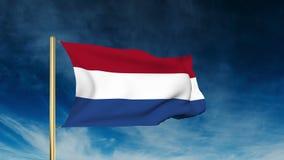 Niederländische Flaggenschieberart Wellenartig bewegen in den Wind stock video footage