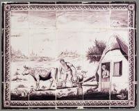 Niederländische Fliese von der 16. zum 18. Jahrhundert Stockfotografie