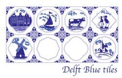Niederländische Fliesen des Delfter Blaus mit Volksbildern stockfotos