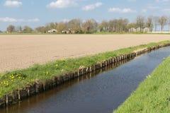 Niederländische ländliche Landschaft mit Abzugsgraben und Ackerland Stockfotografie