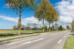 Niederländische Landstraße mit Bauernhaus- und Baumim frühjahr Zeit Stockbilder
