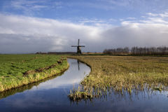 Niederländische Polderlandschaft Stockfotografie