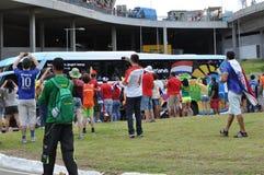 Niederländische Spieler transportieren das Ankommen zu Arena Fonte-Nova Stockbilder