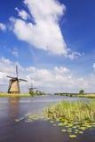 Niederländische Windmühlen an einem sonnigen Tag beim Kinderdijk Lizenzfreie Stockbilder