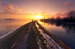 Niederländische Winterlandschaft Stockfotografie