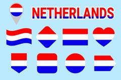 Niederländischer Flaggen-Vektor-Satz Sammlung niederländische nationale Fahnenmasten Holland-Flaggen Ebene lokalisierte Ikonen Tr stock abbildung