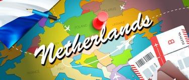 Niederländischer Reisekonzept-Kartenhintergrund mit Flugzeugen, Karten Niederländische Reise des Besuchs und Tourismusbestimmungs stock abbildung