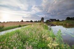 Niederländisches Ackerland mit Kanal- und Sommerwiesen Lizenzfreie Stockfotos