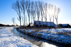 Niederländisches Bauernhaus im Winter Stockbild