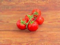 Niederlassung der reifen roten Tomaten auf der Holzoberfläche Lizenzfreie Stockfotografie