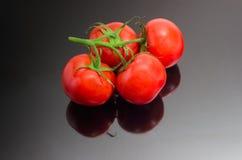 Niederlassung der roten Tomaten auf einer dunklen reflektierenden Oberfläche Stockfotografie
