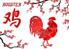 Niederlassung des glühenden roten Hahns und der orientalischer Kirsche Stockfotos