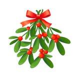 Niederlassung des Mistelzweiges mit Beeren und rotem Bogen Ein Blumenstrauß von Weihnachten stock abbildung