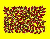 Niederlassung mit roten Blättern auf einem hellen gelben Hintergrund stock abbildung