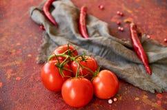Niederlassung von den roten Tomaten lokalisiert auf rotem abstraktem Hintergrund Auf unscharfen grauen Stoff- und Paprikapfeffern Stockfotos
