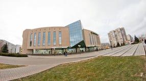 Niederlassung von Sberbank von Russland auf dem ersten Stockwerk von einem mehrstöckigen Lizenzfreie Stockbilder