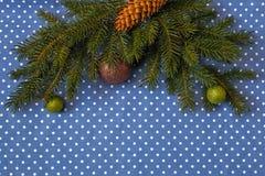 Niederlassungen der Fichte mit Weihnachtsbällen und des Kegels auf einem Hintergrund des Stoffes in den Tupfen Lizenzfreies Stockfoto