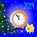 Niederlassungen eines Baums des neuen Jahres Mehrfarbige Weihnachtskugeln Neue Jahr ` s orange Uhr mit schwarzen Pfeilen Wunderba lizenzfreie abbildung