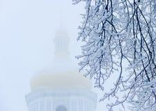 Niederlassungen unter Schnee vor dem hintergrund der Kirche Stockbilder