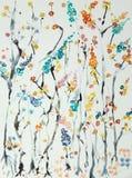 Niederlassungen von Kirschblüten mit Blumen von verschiedenen Farben Lizenzfreie Stockbilder