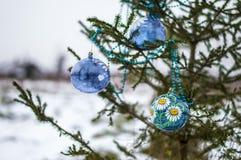Niederlassungs-Weihnachtsbaum im Schnee im eisigen Freilicht Stockfotografie