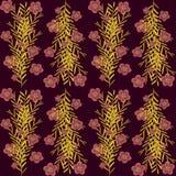 Niederlassungsgoldfarbe stieg Blumen auf einer dunkelroten Farbe vektor abbildung
