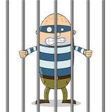 Niedobry facet w więzieniu ilustracja wektor