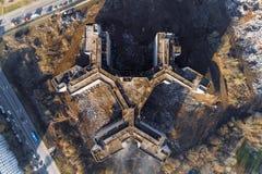 Niedokończony i zaniechany budynek miasto szpital widok z lotu ptaka zdjęcie stock
