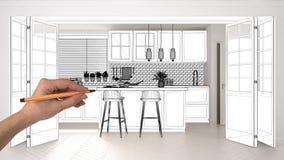 Niedokończony projekt, w budowie szkic, pojęcie wewnętrznego projekta nakreślenie, ręka rysuje scandinavian kuchennego projekta n obrazy royalty free