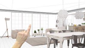 Niedokończony projekt, w budowie szkic, pojęcie wewnętrznego projekta nakreślenie, ręka wskazuje istnego scandinavian żywego pokó obraz stock