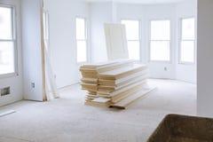 Niedokończony pokój w budowie inside dom fotografia royalty free
