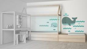 Niedokończony projekta szkic drewniana, turkusowa dziecko sypialnia z i, minimalistyczny architektury wnętrze royalty ilustracja