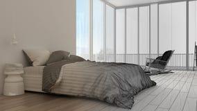 Niedokończony projekta szkic, minimalistyczna sypialnia z dużym panoramicznym okno, dywan i karło, hotel, zdrój, kurortu apartame obraz stock