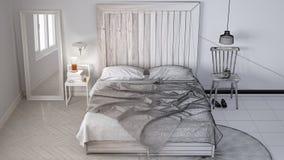 Niedokończony projekta szkic, współczesna sypialnia, łóżko z drewnianym headboard, scandinavian białego eco modny wewnętrzny proj obrazy stock
