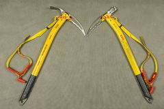 Ice axes Grivel Air Tech Evolution - hammer and adze. Stock Photo