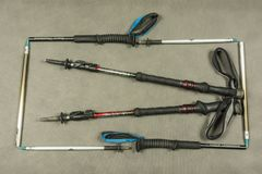 Two types of trekking poles made by Black diamond. Royalty Free Stock Photography