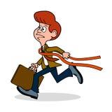 Niedorzeczna karykatura mężczyzna biznesmen krzyżuje wykończeniową linię jako lider ilustracji