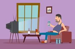 Niedorzeczna karykatura mężczyzna przed TV Fotografia Royalty Free