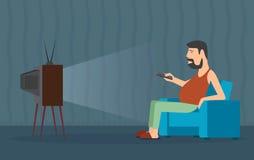 Niedorzeczna karykatura mężczyzna przed TV Obraz Stock