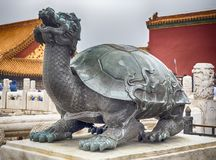 Niedozwolona miasto żółwia rzeźba, Pekin, Chiny obraz royalty free