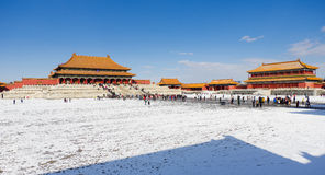 Niedozwolony miasto po śniegu Zdjęcia Royalty Free