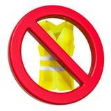 Niedozwolony znak z żółtą kamizelką, 3D rendering ilustracji