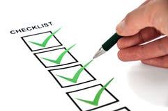 Niedrig-Winkel Checkliste Lizenzfreie Stockfotos